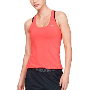 Under Armour HeatGear Ladies Afterburn Orange Racer Tank Sports Gym Running Vest