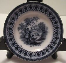 """Worcester Factory, Antique Cup Plate, 3-3/4"""" Diameter, Man and Woman Fishing"""