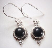 Black Onyx Round with Tri-Dot Accent 925 Sterling Silver Dangle Earrings
