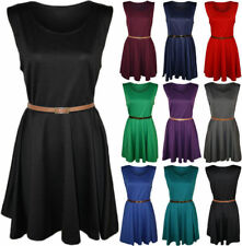 Plus Size Scoop Neck Skater Dresses without Pattern for Women