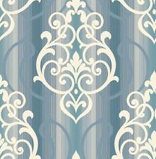 Wallpaper Cream with Gold Glitter & Blue Scroll Damask on Aqua Ombre Stripe