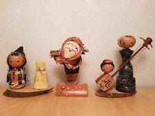 Vintage Japan Made 3 Farmer Family Kokeshi dolls (7-10cm)
