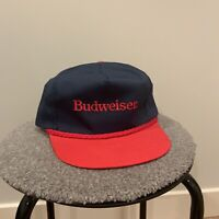 Budweiser Snapback Hat Cap Made In USA Navy Blue And Red. Vintage Bud.