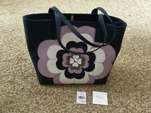 Kate Spade New York Reiley Women's Flower Applique Large Petrol Blue Tote Bag