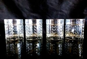 4 Heavy Retro Man Cave Anchor Hocking Laurel Wheat lowball Whisky Glass Tumblers