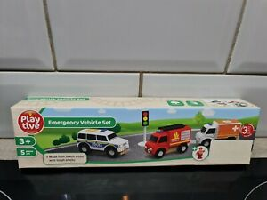 Playtive Junior emergency vehicle set for Wooden Rail Train / Road Sets Police