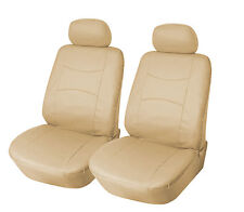 Leather like Two Front Car Seat Covers For Toyota 159 Tan