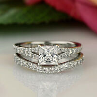 1.50 Ct Princess Cut 14K White Gold Fn Solitaire W/ Accents Engagement Ring