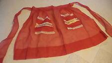 Vintage Half Apron SHEER RED Sweetheart, Lace & Ribbon Trim