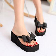 Women Ladies Summer Platform Flip Flops Thong Wedge Beach Sandals Bowknot  Shoes