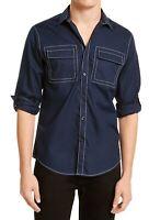 INC Mens Utility Shirt Blue Large L Contrast Stitch Roll-Tab Button Down $49 040