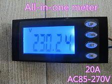 20A AC Digital LED power meter Monitor Voltage KWh Zeit watt Voltanzeige Energie