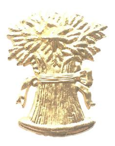 Bushel of Wheat Emblem Orange Lodge Order Gold Gilt Plated for Collarette Sash