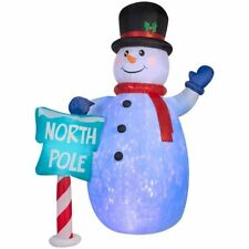 10 ft. Inflatable Snowman w North Pole Sign Christmas Kaleidoscope Projection