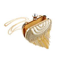 Womens Rhinestone Pearls Evening Handbag Wedding Bridal Party Tassel Clutch Bags