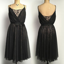 Maggy London 14 Cocktail Party DRESS Black Sheer Lace 50s Retro Pinup Swing Look
