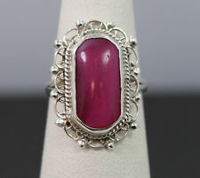 Mexico .925 Sterling Silver Pink Stone Ring Size 5.5