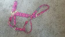 Pink Polkat Dot Dumor Premium Snap Adjustable Halter Large Horse (1100-1500lbs)