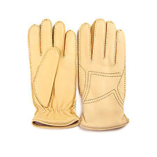 Merola Gloves Yellow Leather Mens Gloves Made in Italy
