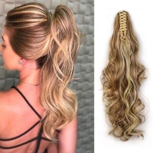 """24"""" Wavy Claw Clip in Ponytail Hair Extensions Heat Resistant Synthetic women"""