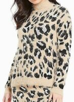 GB Womens Sweater Classic Beige Size XS Eyelash Leopard Pullover $54- 206