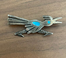 Old Pawn Sterling Silver Turquoise Roadrunner Pin Brooch