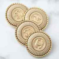 Chanel Button 4pc CC Ivory 22.5 mm Unstamped Vintage Style 4 Buttons AUTH!!!