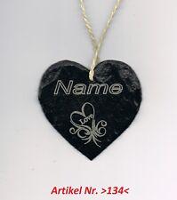 1 Natur Schiefer Herz mit ihrem Namen Geschenk 9x9cm Graviert Lackiert >134<