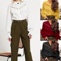 Summer Women Long Sleeve Solid Shirt Tops High Neck Casual Ruffle Blouse T-Shirt