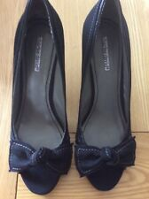 womens charles david high heel peep toe canvas shoes black size 8
