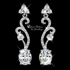 18k White Gold Plated Cubic Zirconia Oval Cut Sparkling Vintage Formal Earrings