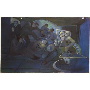 Unframed Surrealist Cool Brittania Oil Painting Brawling Figures Elliott Shelley