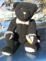 "VINTAGE BLACK TEDDY BEAR 20"" LAMB FUR ARTIST ENCHANTED FOREST WENDY BRENT RARE"