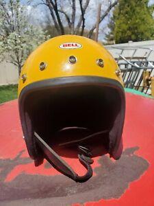 Vintage 1975 Bell Magnum III 3 Motorcycle Car Racing Helmet 6 7/8, 55cm yellow