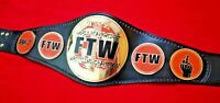 TAZ FTW HEAVYWEIGHT CHAMPIONSHIP BELT IN BRASS PLATES & REAL LEATHER