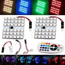 2x RGB 36SMD 5050 LED Panel Light T10 BA9S Festoon Dome Car Interior Lamp Bulb