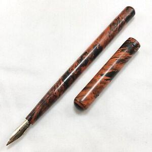 Unmarked Mottled RHR Fountain Pen, Eyedropper, Aikin Lambert #3 14k Fine Flex