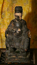 ANTIQUE 17C CHINESE WOOD HAND CARVED TEMPLE ANCESTOR LARGE STATUE,RARE.