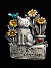 """""""JJ"""" Jonette Jewelry Silver Pewter 'Life Began in a Garden ~ CAT' Pin"""