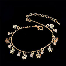 Barefoot Sandal Beach Charm Jewelry Women Anklet Gold Chain Rhinestone Bracelet