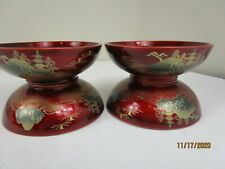 4 NTS Japan Burgundy Lacquerware Rice Bowls Hand Painted Wooden EXCELLENT