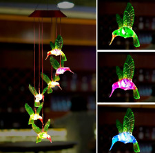 LED Solar Wind Chime Lights Color-Changing Powered Hummingbird Yard Garden Decor