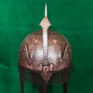 Vintage all steel mughal Islamic silver overlaid Kulah khula khud helmet Shield