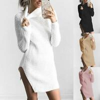 NEW Women Turtleneck Winter Split Long Sleeve Sweater Jumper Knit Bodycon Dress