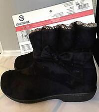 ISOTONER Bonnie Boot Women's Microsuede Slipper Black with gathered top and bow