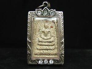 Rare Old Phra Somdej Toh Wat Rakhang Thai Buddha amulet,Real Silvecasing