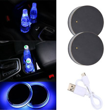 2x Car Cup Holder Pad Mat Coaster LED Light Atmosphere Lamp USB Cable fit Dodge