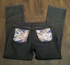 "FCUK Jeans sequined flag pockets Waist 30"" L 32"" fcuk spice girls tour retro"