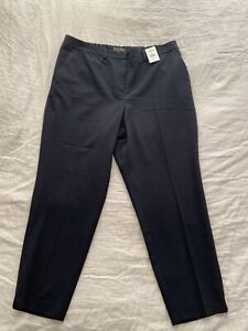 Dorothy Perkins Navy Ankle Grazer Trousers Size 18