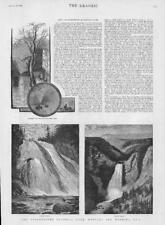 1883 Antique Print - USA Montana Wyoming Yellowstone Waterfalls Gibon Tower(185)